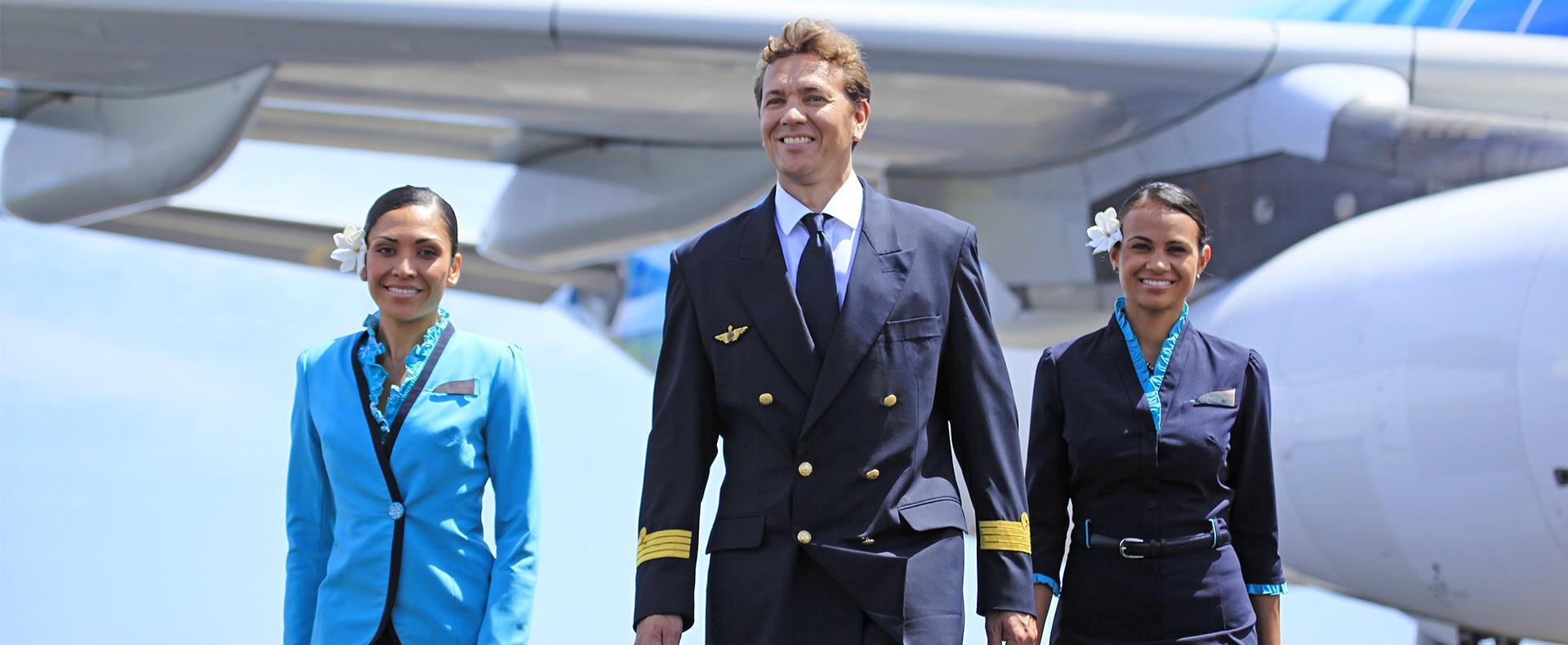 Photographie du personnel d'une compagnie aérienne pour le secteur du transport.