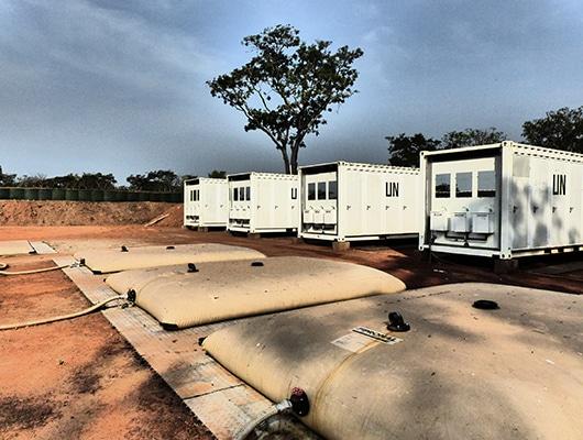 Photographie d'un campement OMP Solutions pour la MINUSCA.