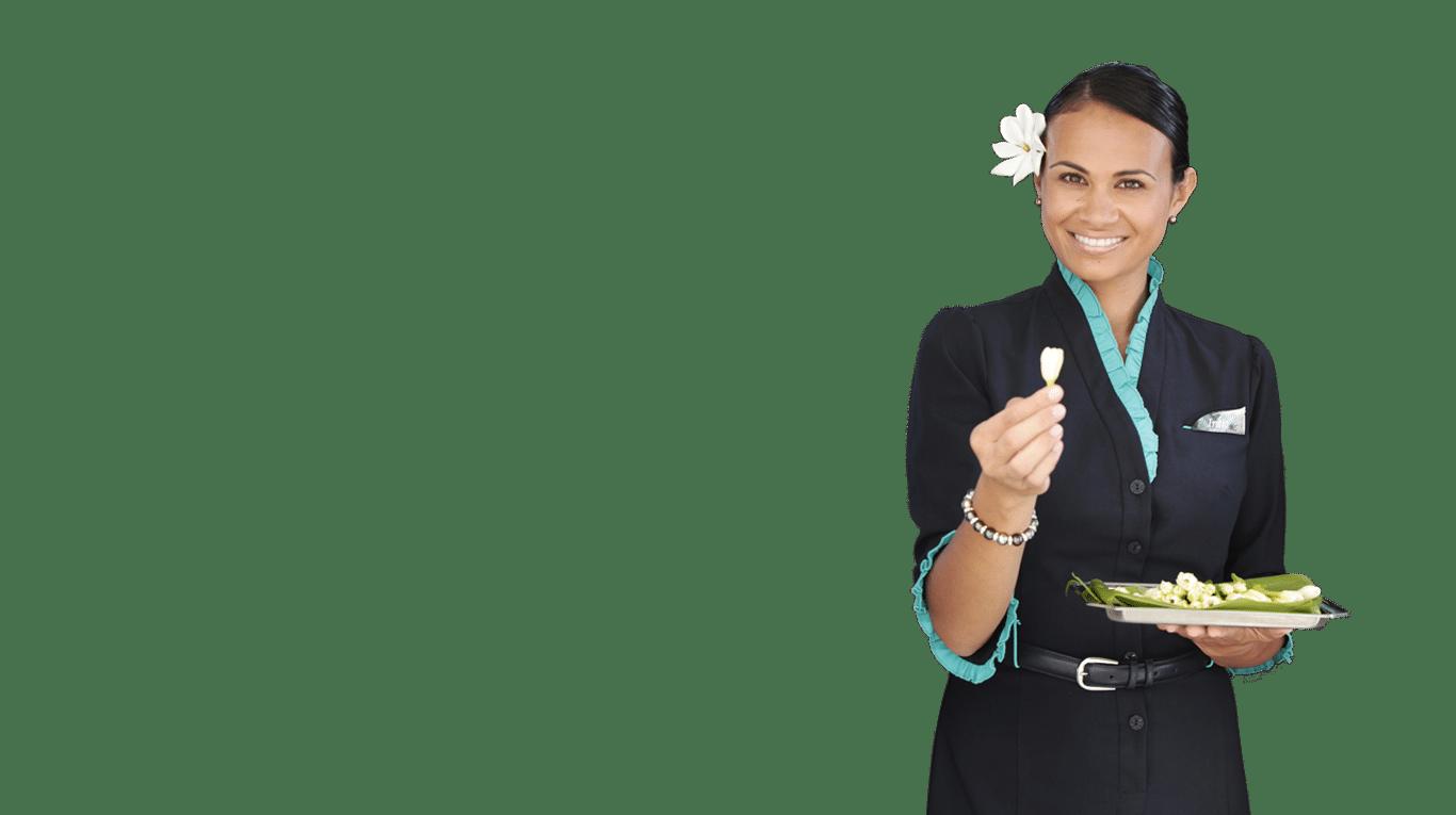 Photographie d'une hôtesse de l'air illustrant l'expertise vêtements corporate.