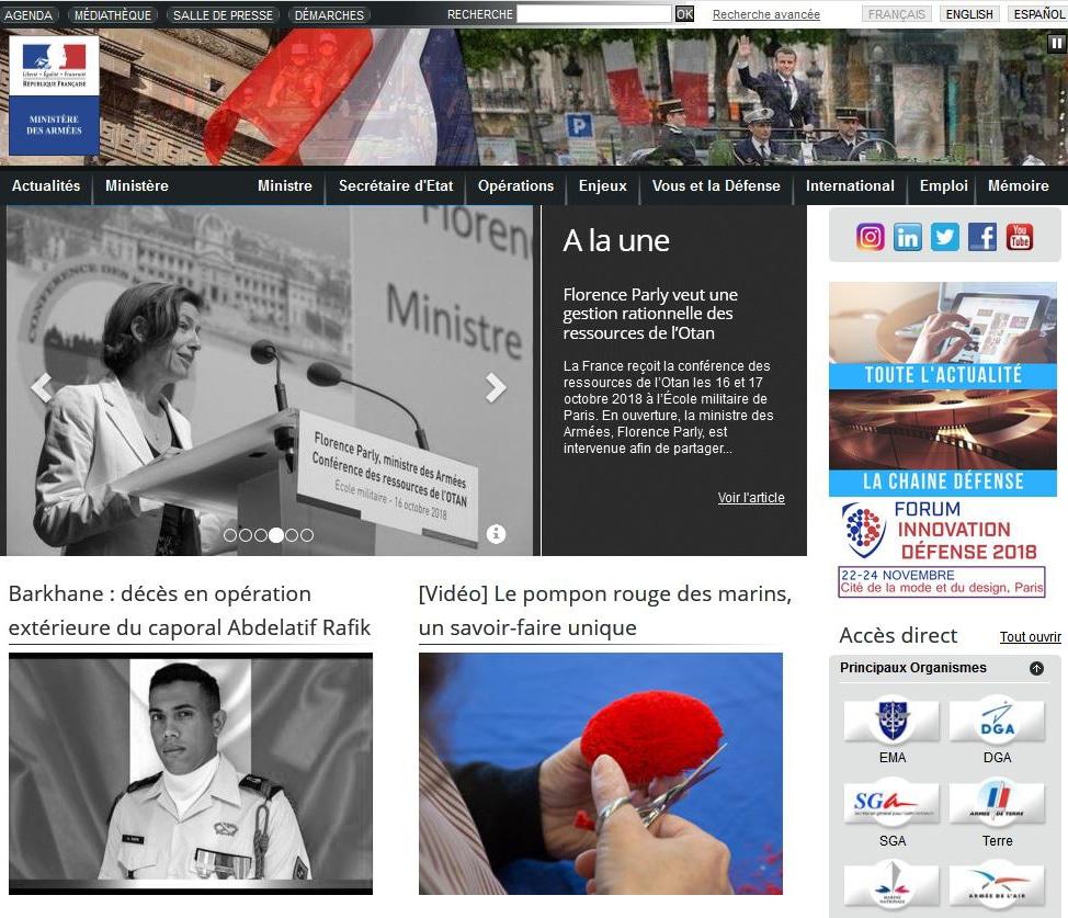 Reportage sur le pompon des marins en une du site du Ministère des Armées.
