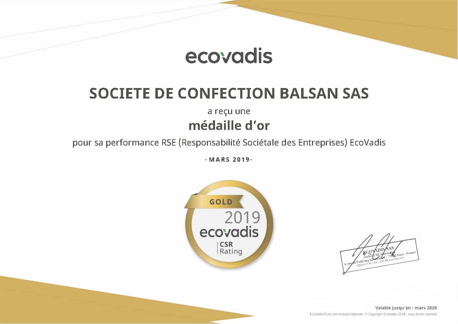 Societe de confection balsan sas ecovadis rating certificate 2019 03 26 groupe marck for Balsan recrutement